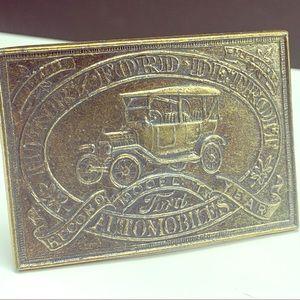 Henry Ford Brass belt buckle Detroit automobile US